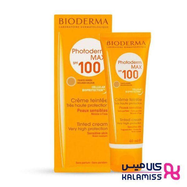 کرم ضد آفتاب بژ طلایی بایودرما مناسب پوست نرمال تا خشک مدل Photoderm MAX Cream SPF 100 حجم 40 میل