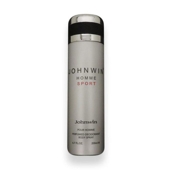 اسپری دئودورانت مردانه جان وین مدل د هوم اسپورت (الور اسپورت شنل) حجم ۲۰۰ میل Johnwin HOMME SPORT Spray For Men 200ml